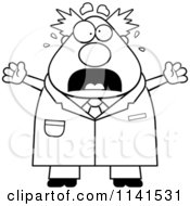 Cartoon Clipart Of A Black And White Panicking Chubby Male Scientist Vector Outlined Coloring Page