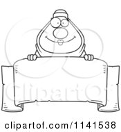Cartoon Clipart Of A Black And White Chubby Muslim Woman Over A Banner Sign Vector Outlined Coloring Page