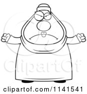 Cartoon Clipart Of A Black And White Mad Chubby Muslim Woman Vector Outlined Coloring Page