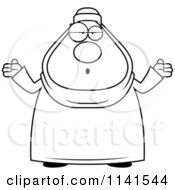 Cartoon Clipart Of A Black And White Clueless Or Careless Shrugging Chubby Muslim Woman Vector Outlined Coloring Page
