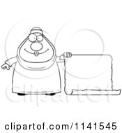 Cartoon Clipart Of A Black And White Chubby Muslim Woman With A Sign Vector Outlined Coloring Page