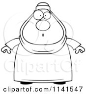 Cartoon Clipart Of A Black And White Surprised Chubby Muslim Woman Vector Outlined Coloring Page