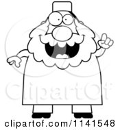 Cartoon Clipart Of A Black And White Chubby Muslim Man With An Idea Vector Outlined Coloring Page