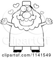 Cartoon Clipart Of A Black And White Chubby Muslim Man With Open Arms Vector Outlined Coloring Page