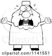 Cartoon Clipart Of A Black And White Scared Chubby Muslim Man Vector Outlined Coloring Page