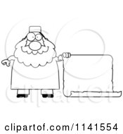 Cartoon Clipart Of A Black And White Chubby Muslim Man With A Sign Vector Outlined Coloring Page
