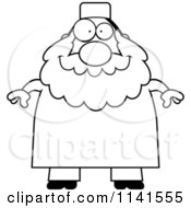 Cartoon Clipart Of A Black And White Chubby Muslim Man Vector Outlined Coloring Page