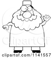 Cartoon Clipart Of A Black And White Chubby Muslim Man Waving Vector Outlined Coloring Page