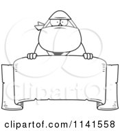 Cartoon Clipart Of A Black And White Chubby Ninja Man With A Sign 1 Vector Outlined Coloring Page by Cory Thoman