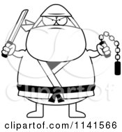 Cartoon Clipart Of A Black And White Chubby Ninja Man With Weapons Vector Outlined Coloring Page by Cory Thoman