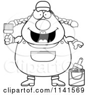 Cartoon Clipart Of A Black And White Frightened Female House Painter Worker Vector Outlined Coloring Page