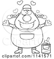 Cartoon Clipart Of A Black And White Loving Female House Painter Worker Vector Outlined Coloring Page