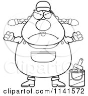 Cartoon Clipart Of A Black And White Angry Female House Painter Worker Vector Outlined Coloring Page