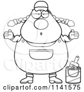 Cartoon Clipart Of A Black And White Careless Shrugging Female House Painter Worker Vector Outlined Coloring Page