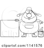 Cartoon Clipart Of A Black And White Female House Painter Worker With A Sign Vector Outlined Coloring Page