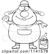 Cartoon Clipart Of A Black And White Waving Female House Painter Worker Vector Outlined Coloring Page
