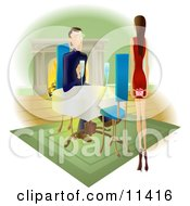 Woman Approaching A Man With A Gift Behind Her Back Clipart Illustration