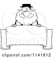 Cartoon Clipart Of A Black And White Rabbi Over A Banner Vector Outlined Coloring Page by Cory Thoman