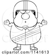 Cartoon Clipart Of A Black And White Careless Shrugging Race Car Driver Vector Outlined Coloring Page