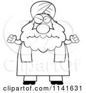 Cartoon Clipart Of A Black And White Mad Chubby Muslim Sikh Man Vector Outlined Coloring Page