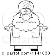 Cartoon Clipart Of A Black And White Depressed Chubby Muslim Sikh Man Vector Outlined Coloring Page