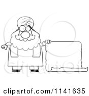 Cartoon Clipart Of A Black And White Chubby Muslim Sikh Man With A Sign Vector Outlined Coloring Page by Cory Thoman