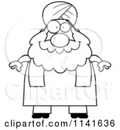 Cartoon Clipart Of A Black And White Chubby Muslim Sikh Man Vector Outlined Coloring Page