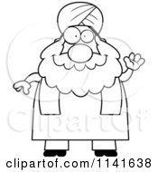 Cartoon Clipart Of A Black And White Chubby Muslim Sikh Man Waving Vector Outlined Coloring Page
