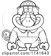 Cartoon Clipart Of A Black And White Baboon Monkey Explorer Vector Outlined Coloring Page by Cory Thoman