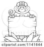 Cartoon Clipart Of A Black And White Baboon Monkey Behind A Wooden Sign Vector Outlined Coloring Page by Cory Thoman