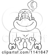 Cartoon Clipart Of A Black And White Bigfoot Sasquatch Daydreaming Of Bananas Vector Outlined Coloring Page