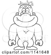 Cartoon Clipart Of A Black And White Drunk Or Dumb Bigfoot Sasquatch Vector Outlined Coloring Page