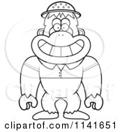Cartoon Clipart Of A Black And White Bigfoot Sasquatch Explorer Vector Outlined Coloring Page