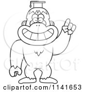 Cartoon Clipart Of A Black And White Bigfoot Sasquatch Professor Wearing A Cap Vector Outlined Coloring Page by Cory Thoman