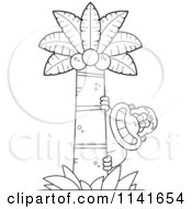 Cartoon Clipart Of A Black And White Bigfoot Sasquatch Behind A Coconut Palm Tree Vector Outlined Coloring Page