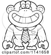 Cartoon Clipart Of A Black And White Chimpanzee Wearing A Tie And Shirt Vector Outlined Coloring Page