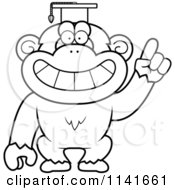 Cartoon Clipart Of A Black And White Chimpanzee Professor Wearing A Cap Vector Outlined Coloring Page by Cory Thoman