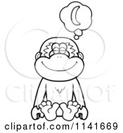Cartoon Clipart Of A Black And White Gibbon Monkey Daydreaming Of Bananas Vector Outlined Coloring Page by Cory Thoman