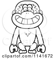 Cartoon Clipart Of A Black And White Happy Gibbon Monkey Vector Outlined Coloring Page by Cory Thoman