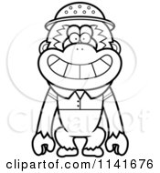Cartoon Clipart Of A Black And White Gibbon Monkey Explorer Vector Outlined Coloring Page by Cory Thoman