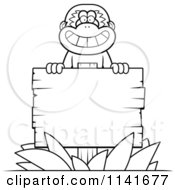 Cartoon Clipart Of A Black And White Gibbon Monkey Behind A Wooden Sign Vector Outlined Coloring Page by Cory Thoman