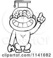 Cartoon Clipart Of A Black And White Gibbon Monkey Professor Wearing A Cap Vector Outlined Coloring Page by Cory Thoman