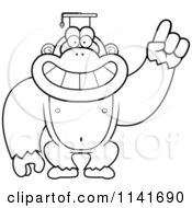 Cartoon Clipart Of A Black And White Gorilla Professor Wearing A Cap Vector Outlined Coloring Page by Cory Thoman