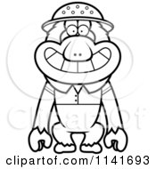 Cartoon Clipart Of A Black And White Macaque Monkey Explorer Vector Outlined Coloring Page by Cory Thoman