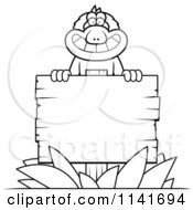 Cartoon Clipart Of A Black And White Macaque Monkey With A Wooden Sign Vector Outlined Coloring Page by Cory Thoman