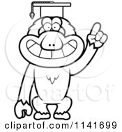 Cartoon Clipart Of A Black And White Macaque Monkey Professor Wearing A Cap Vector Outlined Coloring Page by Cory Thoman