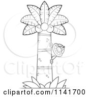 Cartoon Clipart Of A Black And White Macaque Monkey Behind A Coconut Palm Tree Vector Outlined Coloring Page