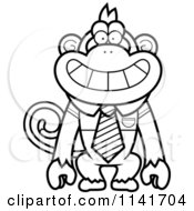 Cartoon Clipart Of A Black And White Monkey Wearing A Tie And Shirt Vector Outlined Coloring Page