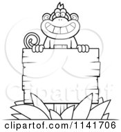 Cartoon Clipart Of A Black And White Monkey Behind A Wood Sign Vector Outlined Coloring Page