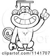 Cartoon Clipart Of A Black And White Monkey Professor Wearing A Cap Vector Outlined Coloring Page by Cory Thoman